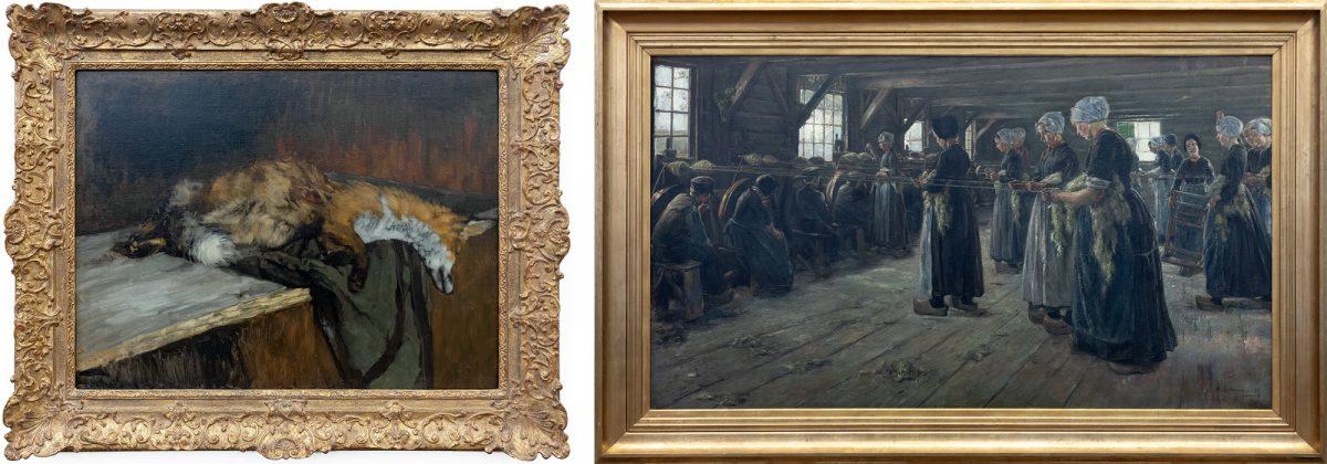 Antiga Galeria Nacional: Dead Fox (1882/1883) Carl Schuch / Flachsscheuer (1887) Max Liebermann - Berlin Museum Island Germany / Museuminsel Deutschland Germany pintura