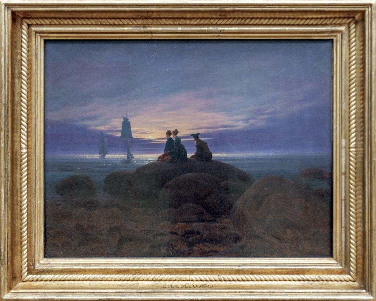 Nascer da lua sobre o mar / Nascer da lua sobre o mar (1822) Caspar David Friedrich - Antiga Galeria Nacional, Ilha dos Museus de Berlim Alemanha / Ilha dos Museus Alemanha Alemanha Pintura
