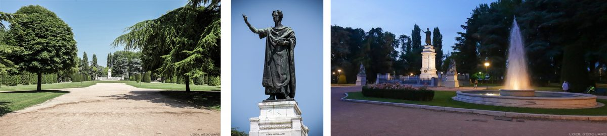 Estátua da escultura de Virgílio no parque Giardini na Piazza Virgiliana, Mântua Itália / Mântua Itália Fonte do jardim Itália
