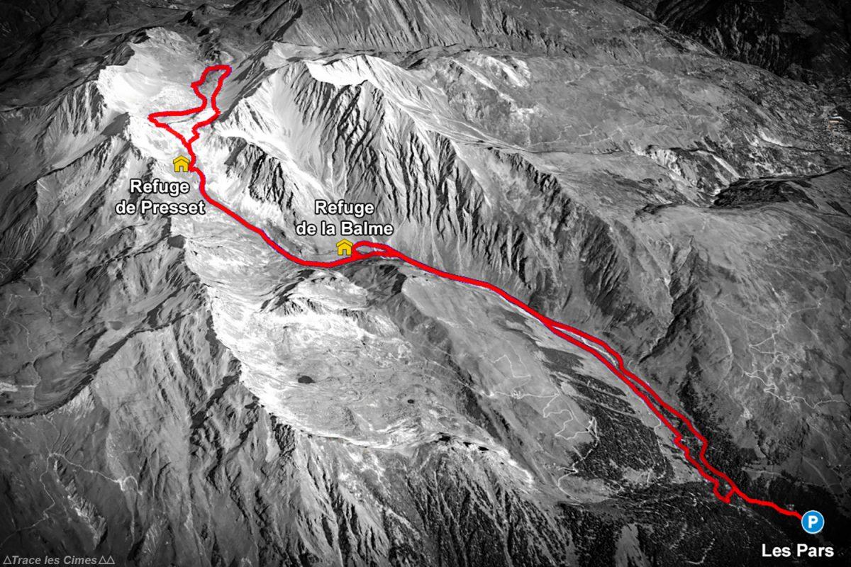 Pista de rato da rota de alpinismo de esqui no Refuge de Presset - Massif du Beaufortain, Savoie