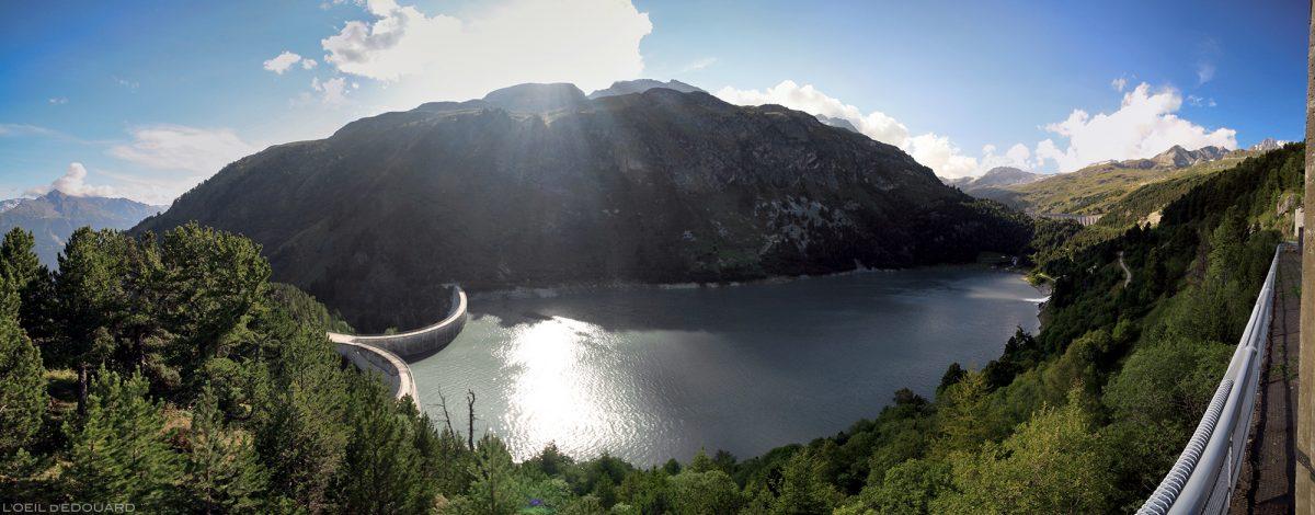 Lago da barragem Plan d'Aval, acima de Aussois, Alpes de Haute Maurienne Savoie