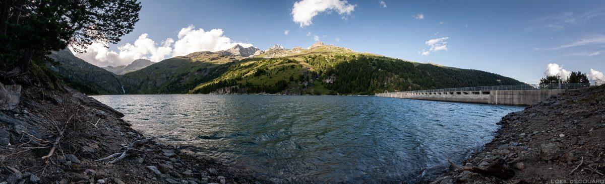 Lago Dam Plan d'Amont acima de Aussois, Alpes Haute Maurienne Savoie
