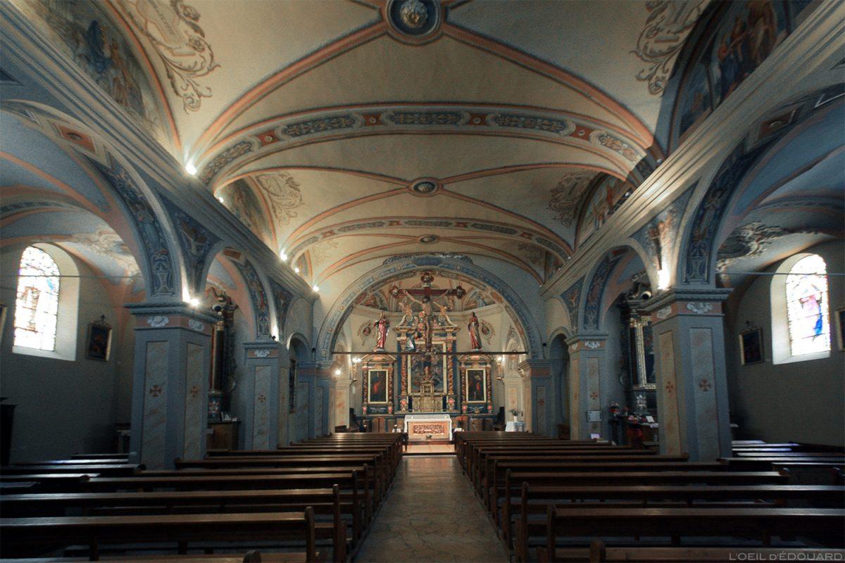 Interior barroco - Igreja de Nossa Senhora da Assunção em Aussois, Alpes Haute Maurienne Savoie