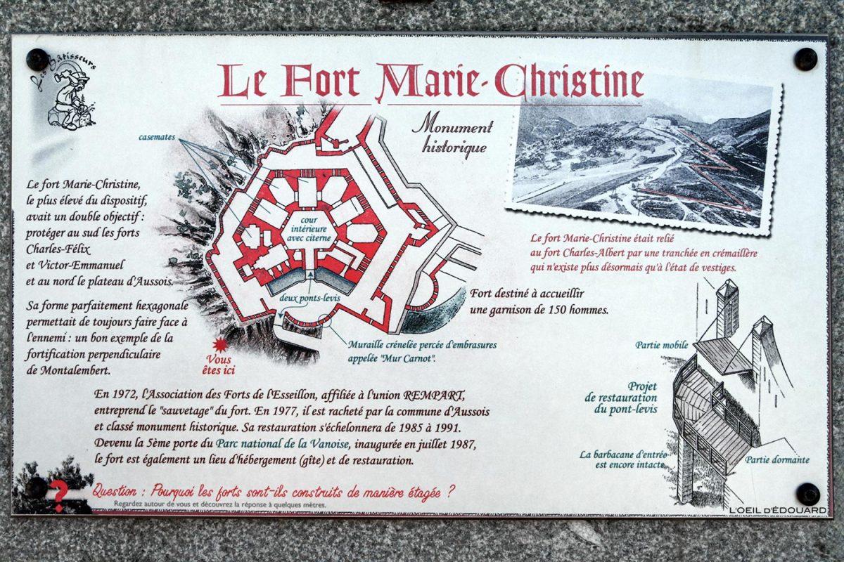 Mapa do Fort Marie-Christine, Forts de l'Esseillon em Aussois, Haute Maurienne Savoie Alps