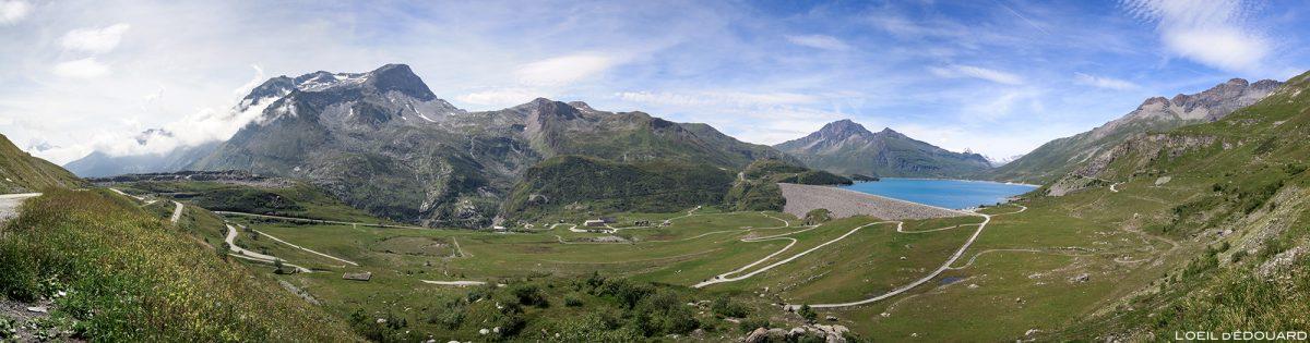 O Col du Mont-Cenis com a barragem e o Lac du Mont Cenis - Alpes de Haute Maurienne Savoie