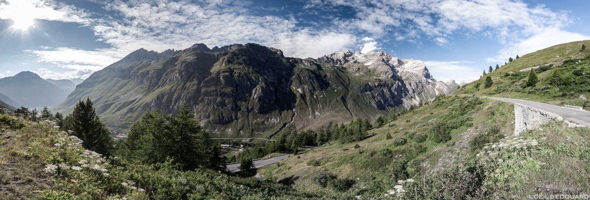 Estrada D902 para o Col de l'Iseran - Alpes Savoie no vale de Alta Tarentaise