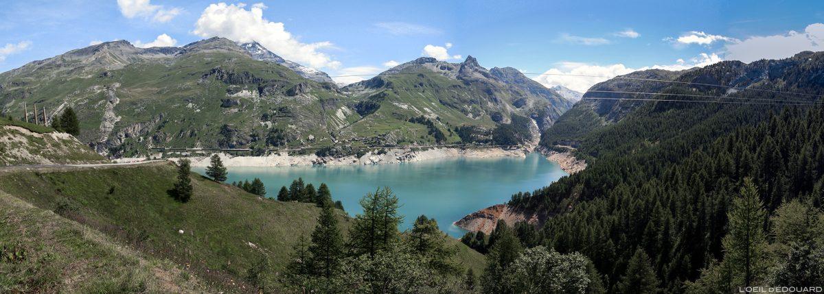 Lago Chevril, barragem Tignes, Haute-Tarentaise, Savoie Alpes Grées