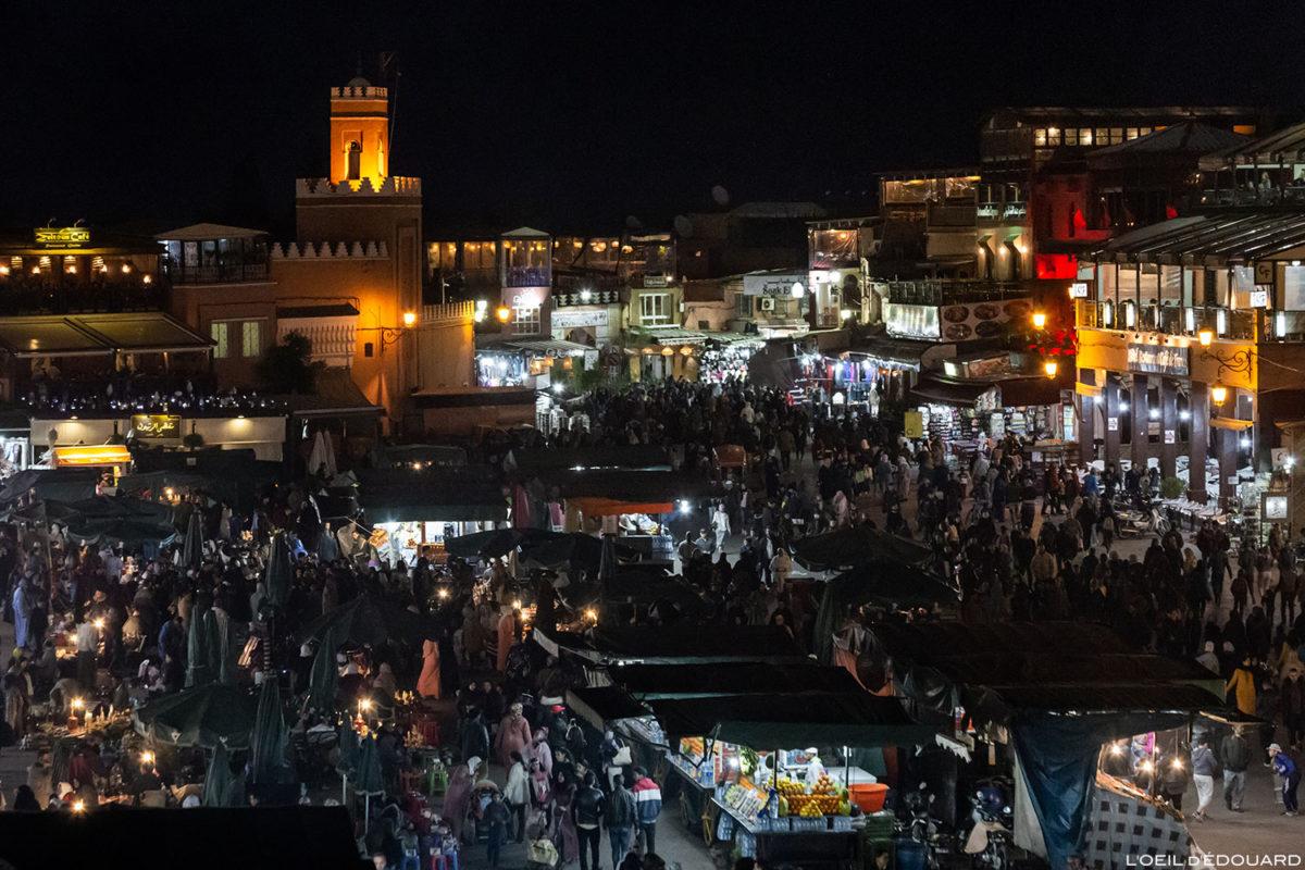 Place Jemaâ el-Fna em Marrakech de noite em noite, Marrocos / Marrakech Marrocos © L'Oeil d'Édouard - Todos os direitos reservados
