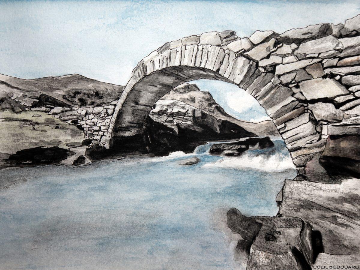Desenho da ponte romana, Cirque des Évettes, Haute-Maurienne Savoie © L'Oeil d'Édouard - Todos os direitos reservados