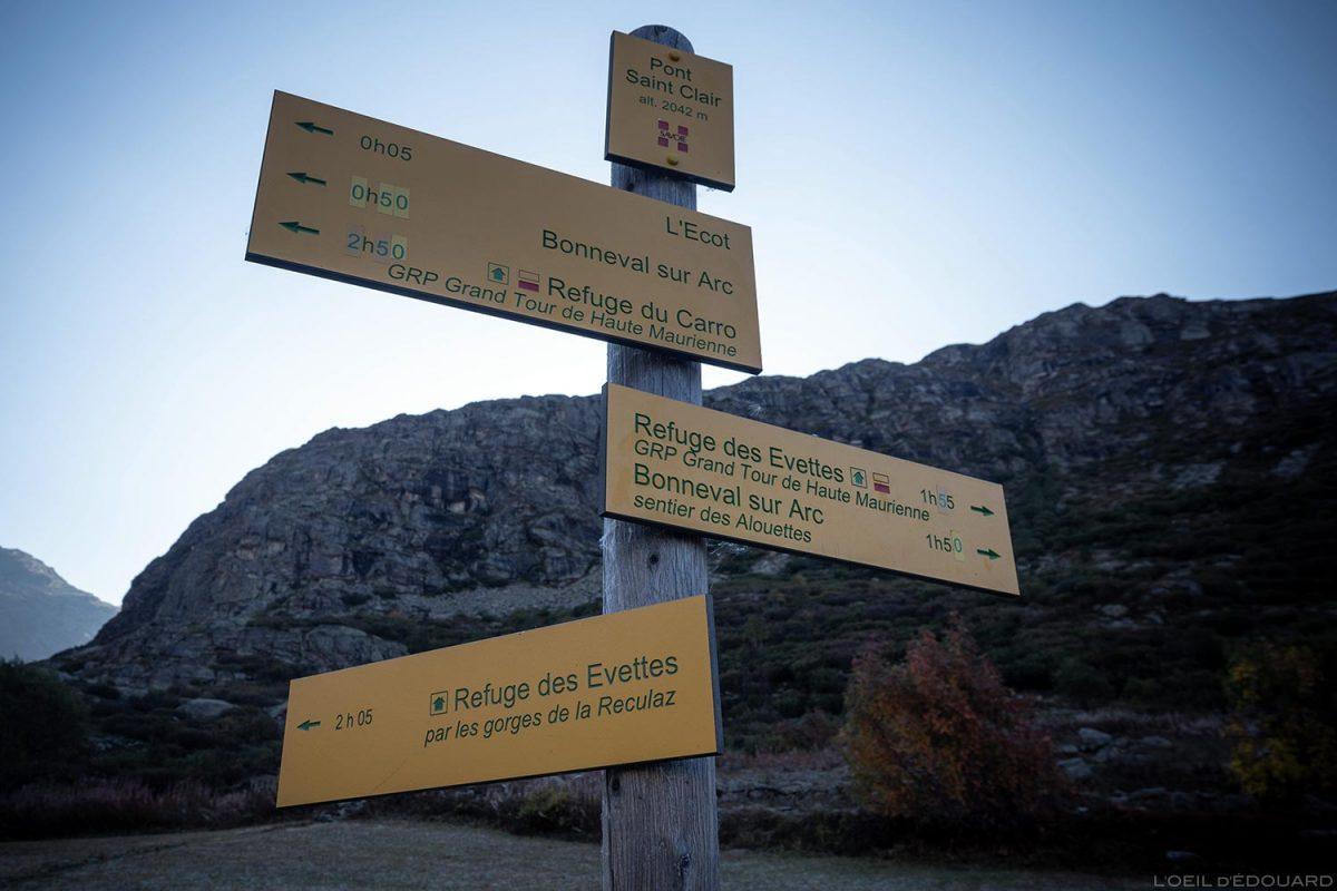 Pont Saint-Clair, L'Écot: rotas de partida para uma excursão ao Cirque des Évettes - Alpes Gregos, Haute-Maurienne, Alpes Savoie