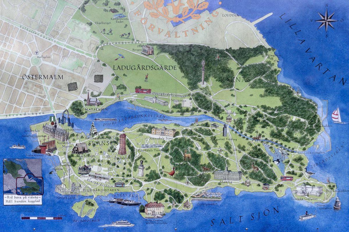 Mapa da ilha de Djurgarden Estocolmo Suécia Suécia Mapa da ilha de Sverige