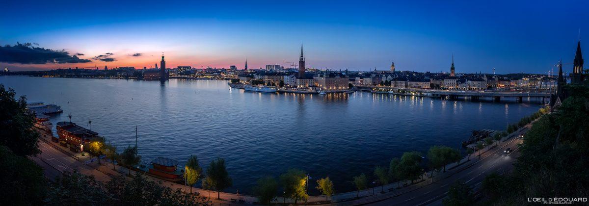 Pôr do sol panorâmico sobre a cidade de Estocolmo de Monteliusvagen Södermalm Sverige Suécia vista panorâmica do pôr do sol
