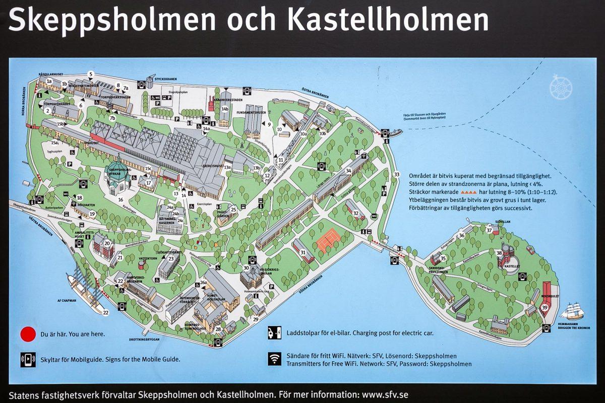 Mapa da ilha de Skeppsholmen Kastellholmen Estocolmo Suécia Suécia Mapa da ilha de Sverige