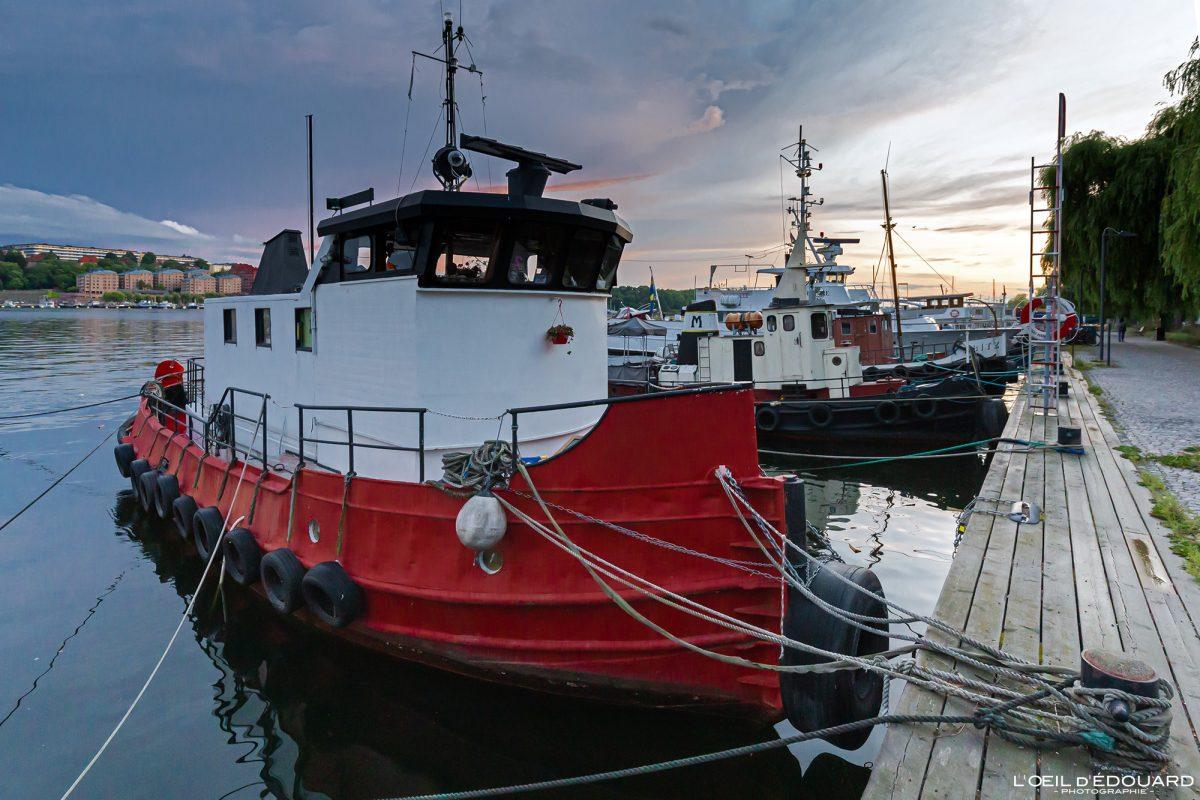 Barcos de pesca Norr Mälarstrands Kungsholmen Estocolmo Suécia Suécia Sverige barcos de pesca