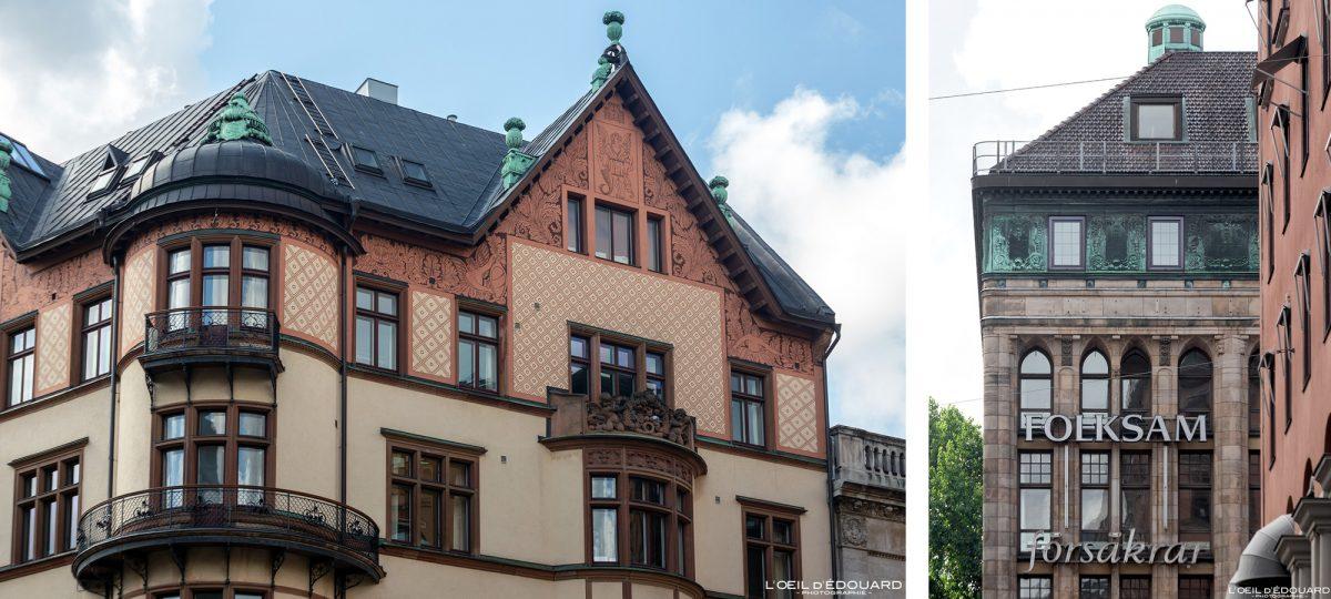 Edifício de fachada ornamentada Ostermalm Stockholm Suécia Suécia Sverige Architecture building