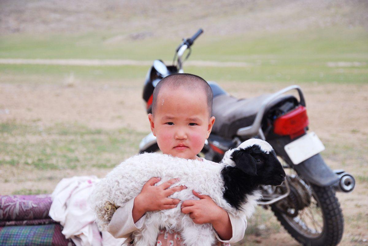 Criança da Mongólia nas estepes da Mongólia Criança da Ãsia Mongólia da Ãsia