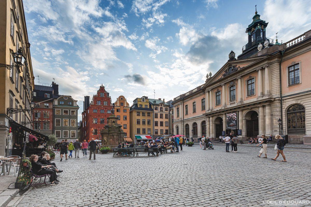 Praça Stortorget - cidade velha Gamla Stan Stadsholmen Estocolmo Suécia Sverige Suécia