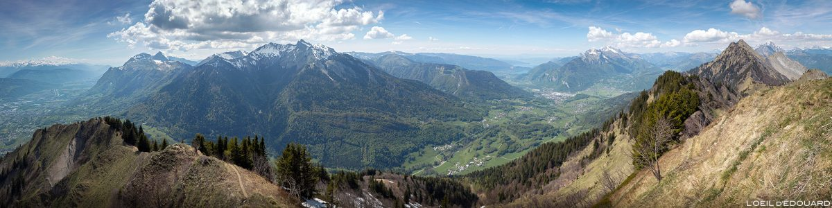 Vista do topo de La Belle Étoile, dos Alpes Savoy a Bauges - paisagem montanhosa ao ar livre paisagem do pico da montanha