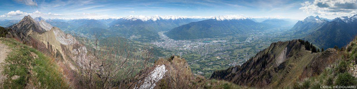 Vista de Albertville a partir do cume de Belle Étoile, Bauges Savoie Alps - paisagem montanhosa caminhada ao ar livre paisagem montanhosa do cume
