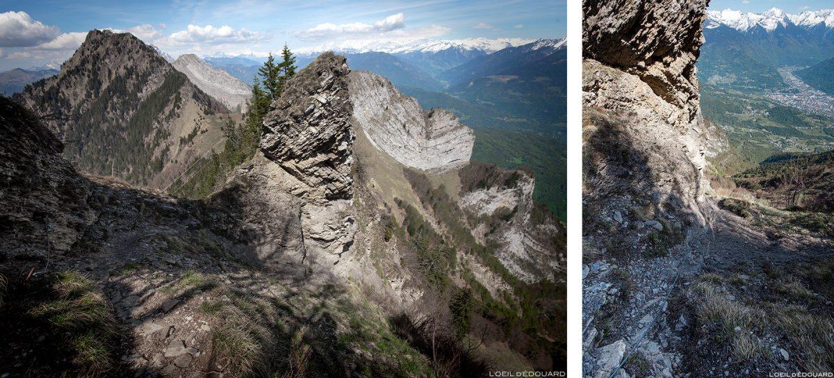 O Pas de l'ne entre La Belle Étoile e o Dent de Cons Bauges. Alpes Savoy - paisagem montanhosa Caminhada no meio da montanha