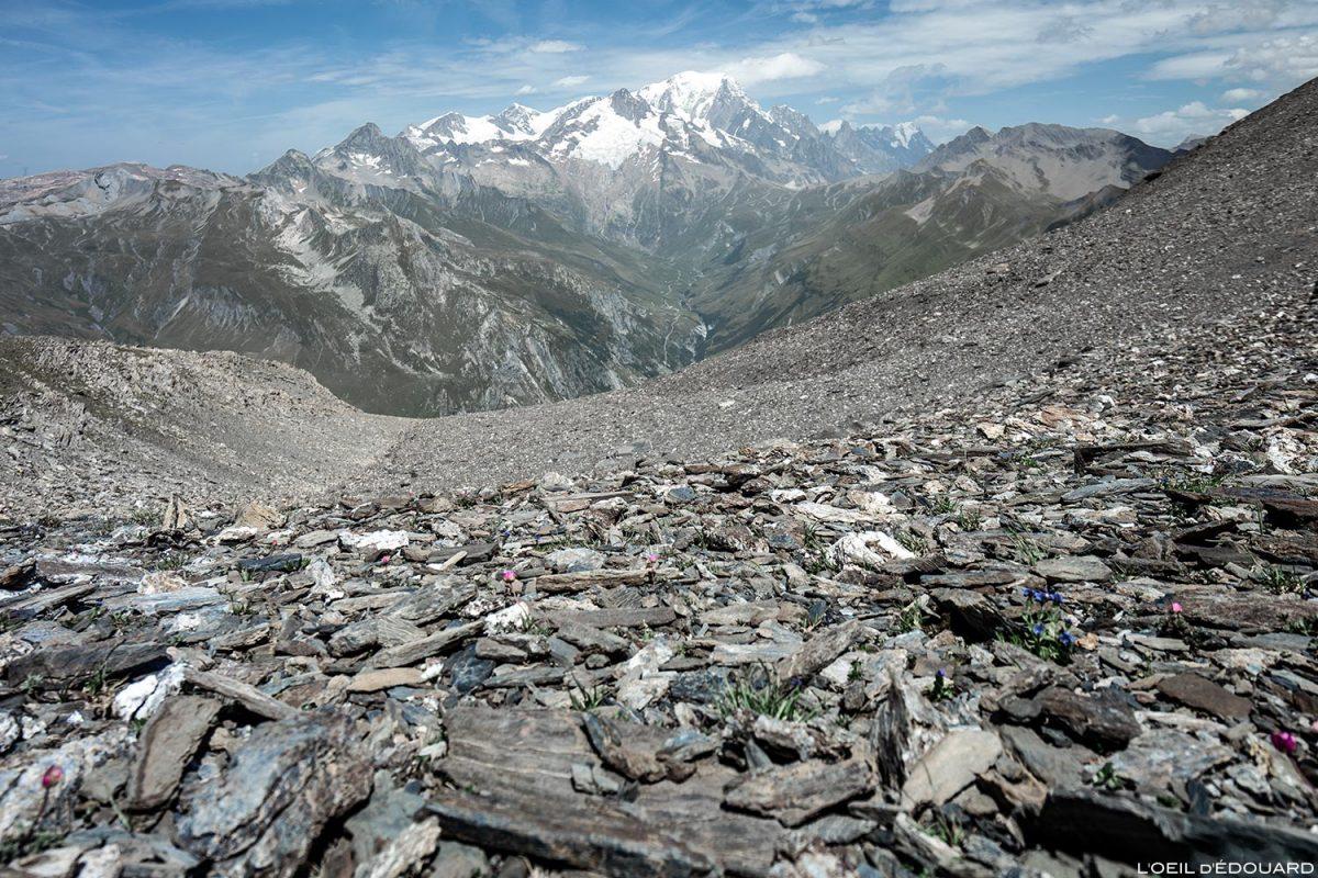 Monte Branco sob La Pointe de Pralognan, paisagem montanhosa dos Alpes Le Beaufortain Savoie