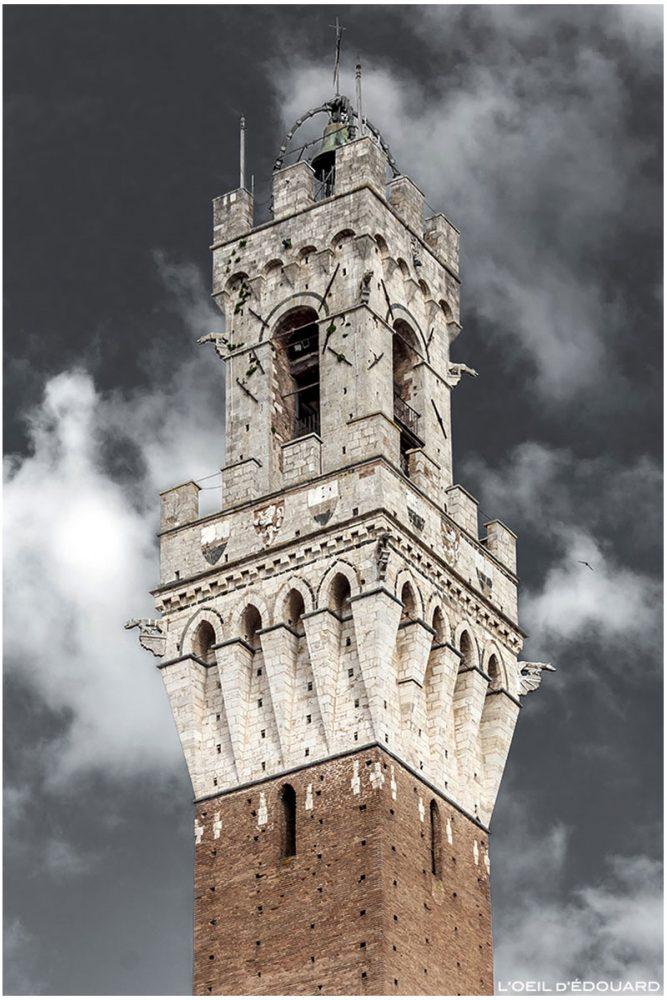 Torre do sino da Torre del Mangia Torre do Palazzo Pubblico em Siena