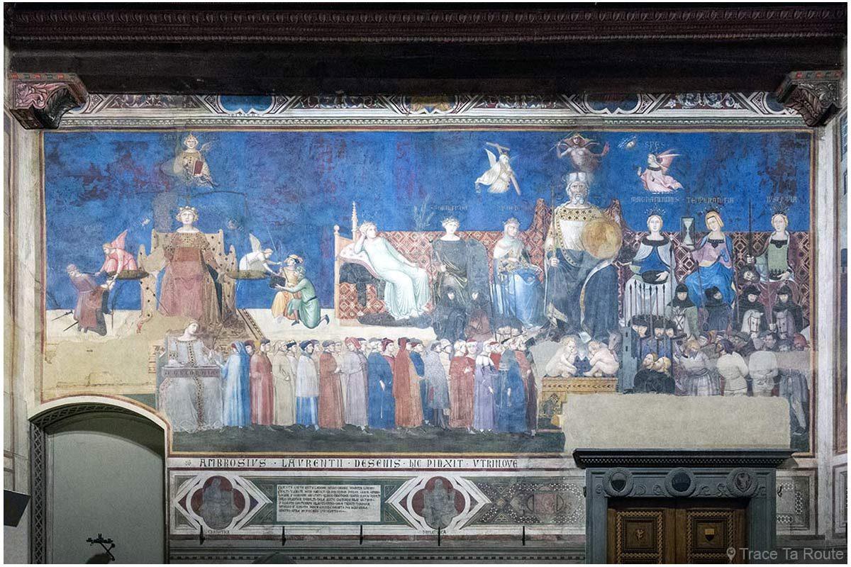 """fresco """"Alegoria e efeitos de um bom e mau governo"""" (1338-1339) Ambrogio Lorenzetti - Sala dei Nove do Museu Cívico de Siena - Alegoria e efeitos da boa e má governação (Sala dei Nove / Salle della Pace do Palazzo Pubblico de Siena)"""