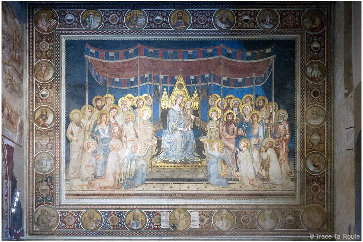 "fresco ""majestade"" (1312-1315) Simone Martini - Sala Mappemonde do Museu Cívico de Siena / Sala Mappamondo do Palácio Público de Siena"