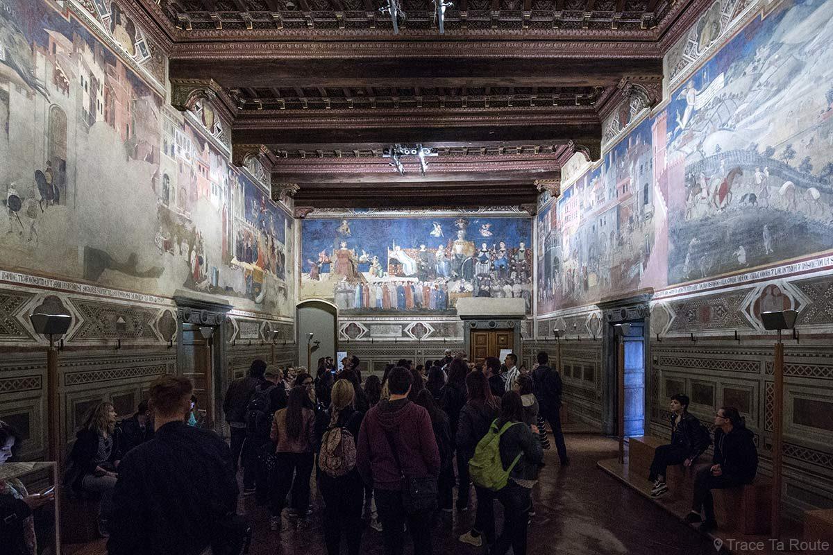 Sala dei Nove do Museu Cívico de Siena - Alegoria e efeitos do bom e mau governo, Lorenzetti - Sala dei Nove / Salle della Pace do Palazzo Pubblico de Siena - Alegoria e efeitos do bom e mau governo, Lorenzetti
