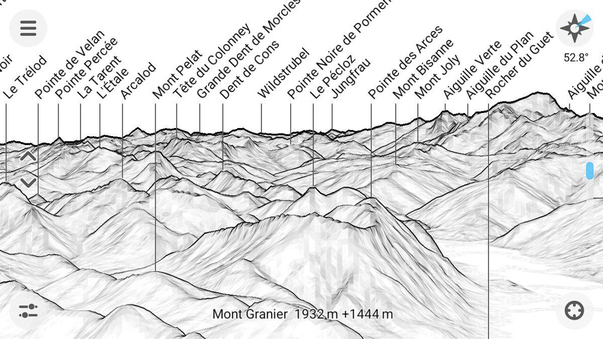 PeakFinder Mountain Name App - Captura de tela da ferramenta de altura acima do solo do smartphone (captura de tela)