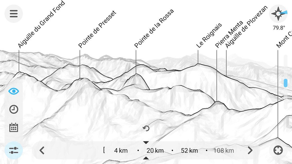 PeakFinder Mountain Name App - Ferramenta de visibilidade de captura de tela do smartphone (captura de tela)