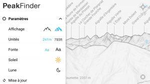 PeakFinder Mountain Name App - Captura de tela das configurações do smartphone (Captura de tela)