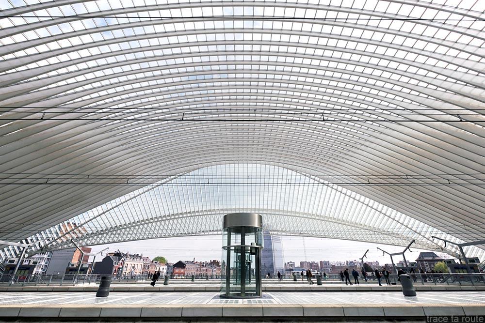 Arquitetura Estação Guillemins Liège - Santiago Calatrava - Plataformas com teto de vidro abobadado