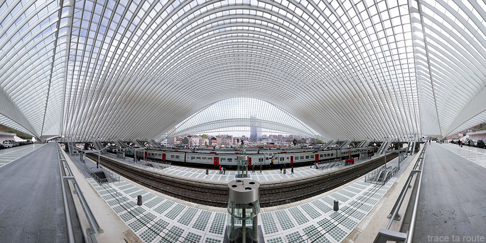 Arquitetura Guillemins Station Liège - Santiago Calatrava - Plataformas com teto de vidro abobadado