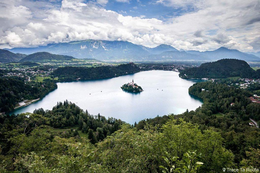 Vista do Lago Bled do topo do Monte Mala Osojnica, Eslovênia - Blejsko jezero, Eslovênia