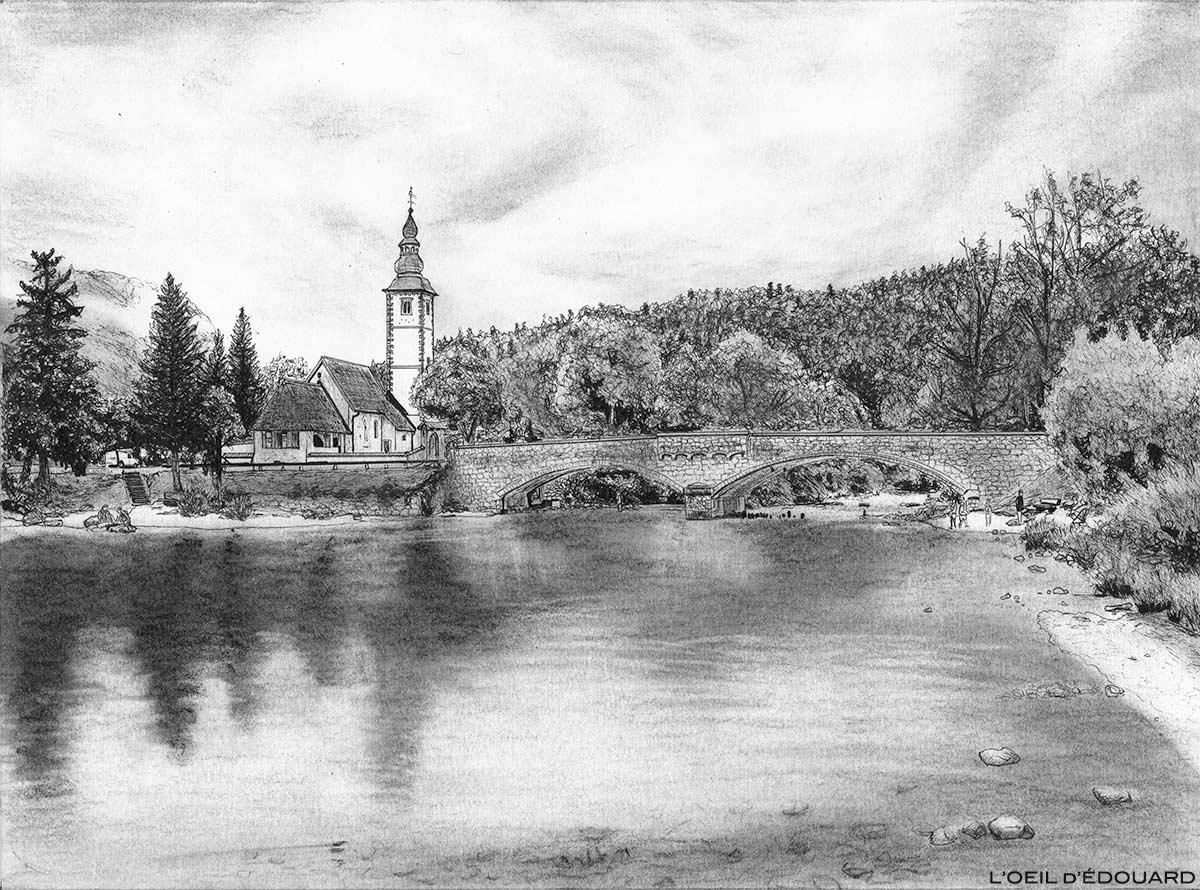 Desenho de Bohinj, Eslovênia - Imagem do lago esloveno Bohinj / Ribčev Laz, Bohinjsko jezero, Eslovênia