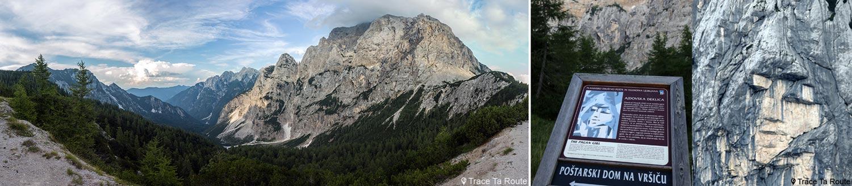 Vale Vršiška cesta, Kranjska Gora e penhascos do Monte Prisojnik com rosto humano Ajdovska Deklica (a garota pagã) na passagem de Vršič, Alpes Julianos - viagem para a Eslovênia, Eslovênia