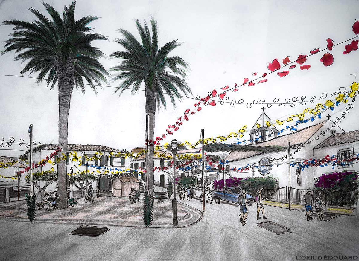 Largo do Pelourinho: Antiga Câmara Municipal junto a Antiga Câmara Municipal e Igreja Igreja da Senhora da Piedade em Vila Baleira, Ilha de Porto Santo, Madeira / Madeira - Desenho