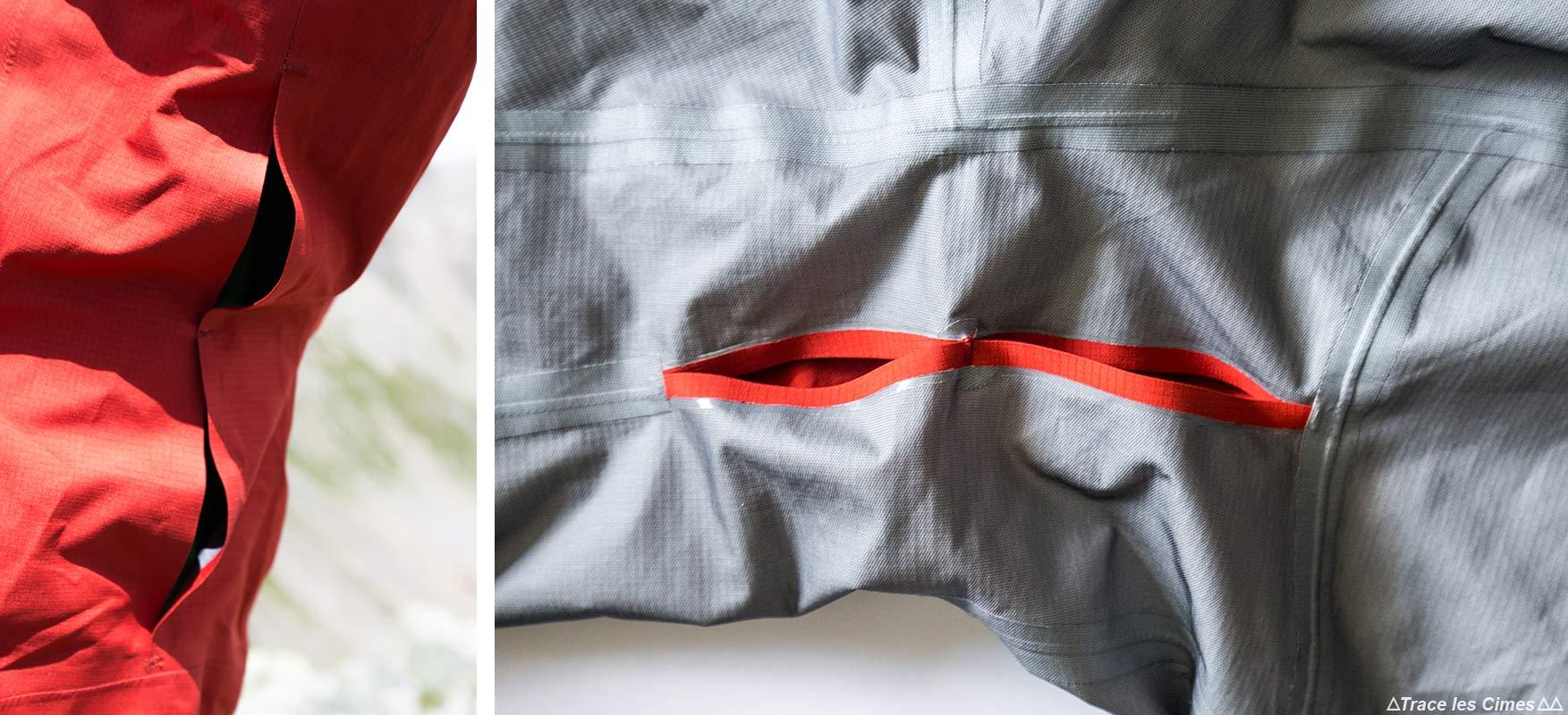 Teste os orifícios de ventilação da jaqueta NORVAN ARC'TERYX Gore-Tex nas axilas