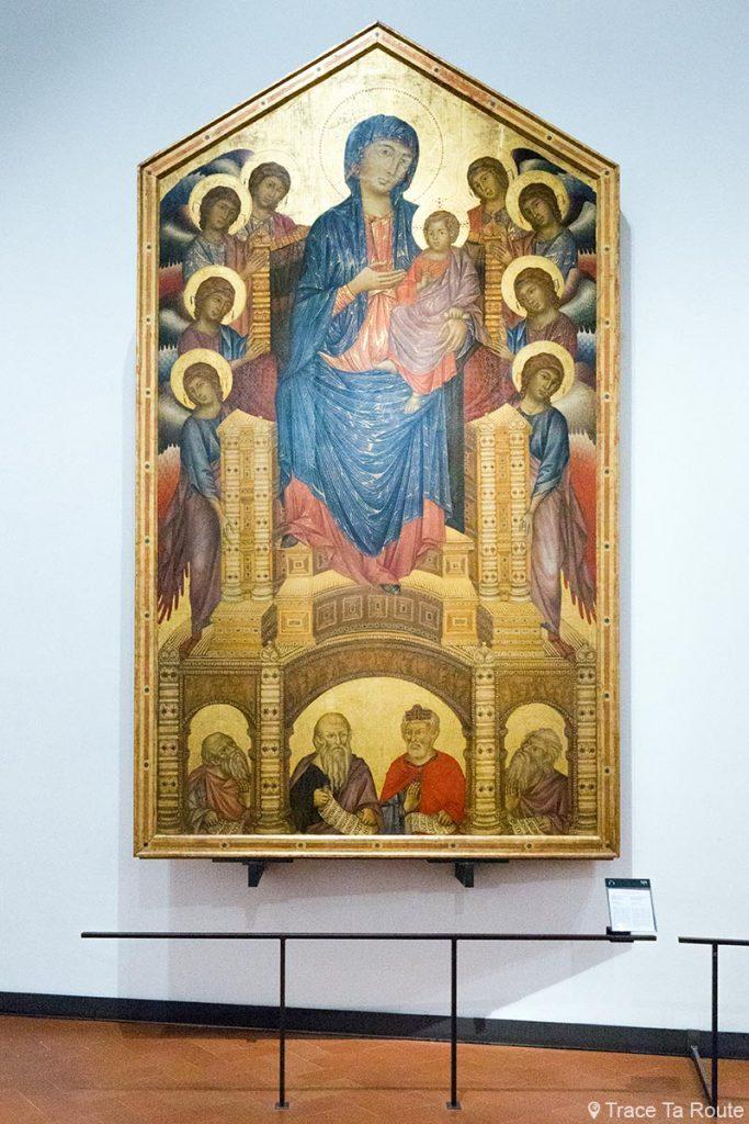 """A Virgem e o Menino Entronizados com Anjos e Profetas """"Majestade de Santa Trinita"""" (1290-1300) CIMABUE - Museu da Galeria Uffizi em Florença (Galeria Uffizi em Florença)"""