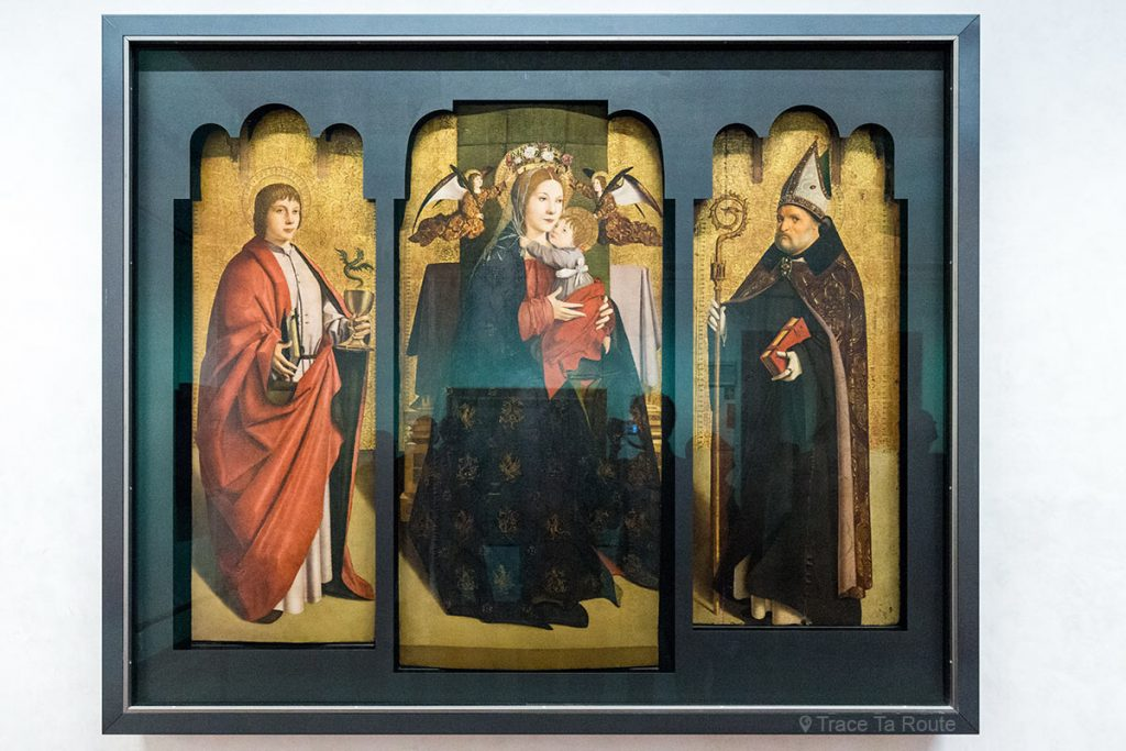 Giovanni Evangelista, Madonna e Menino com São Benedito (1470-1475) Antonello da MESSINA - Galeria do Museu do Escritório de Florença (Galeria Uffizi em Florença)