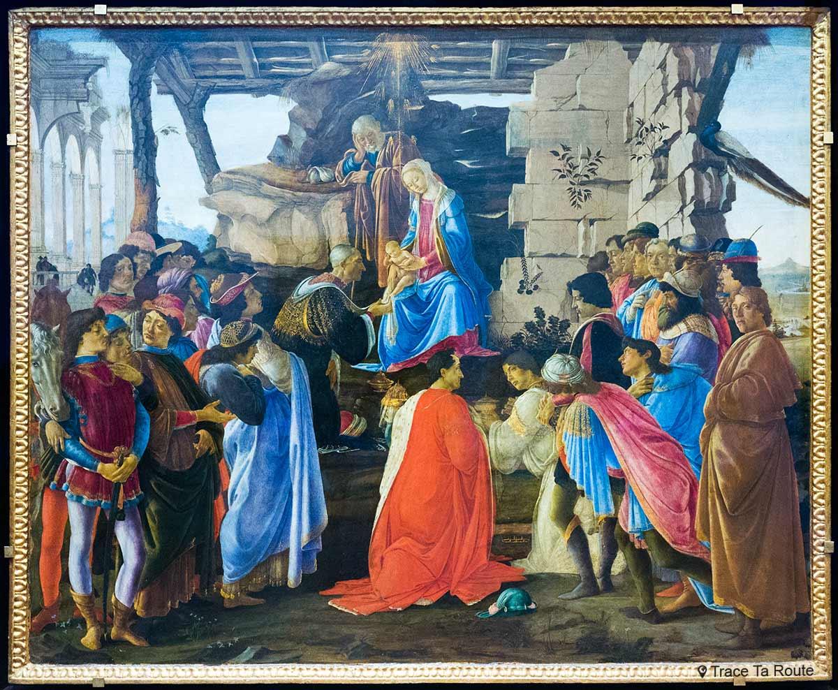 A Adoração dos Magos (c. 1475) Alessandro BOTTICELLI - Museu da Galleria degli Uffici em Florença (Galeria Uffizi em Florença)