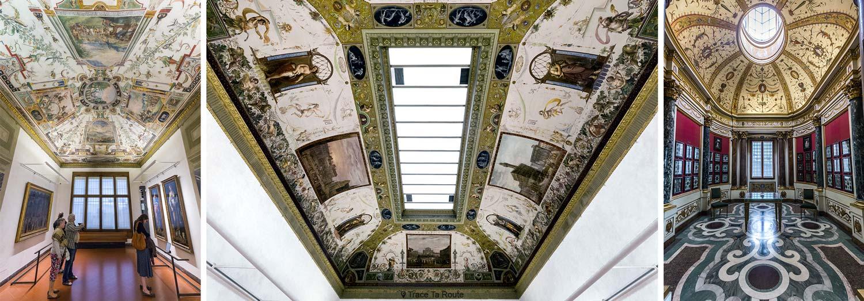 Tetos das salas da Galeria Uffizi em Florença (Galeria Uffizi em Florença)