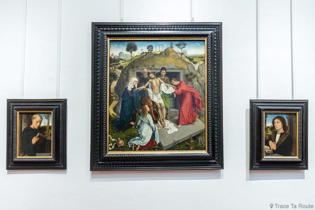"""A pintura """"São Benedito"""" (1487) e """"Retrato de Benedetto Portinari"""" (1487) por Hans MEMLING e Lamentation over Christ (1460) por Rogier VAN DER WEYDEN - Museu Uffizi em Florença Galeria Uffizi em Florença Itália Museu de pintura de arte"""
