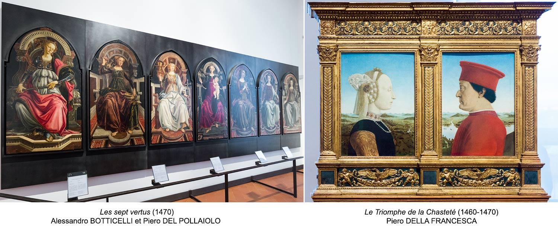 As Sete Virtudes (1470) Alessandro BOTTICELLI e Piero DEL POLLAIOLO / O Triunfo da Castidade, Retratos do Duque de Urbino e sua esposa Battista Sforza (1460-1470) Piero DELLA FRANCESCA - Galeria Uffizi em Florença (Galeria Uffizi) em Florença)