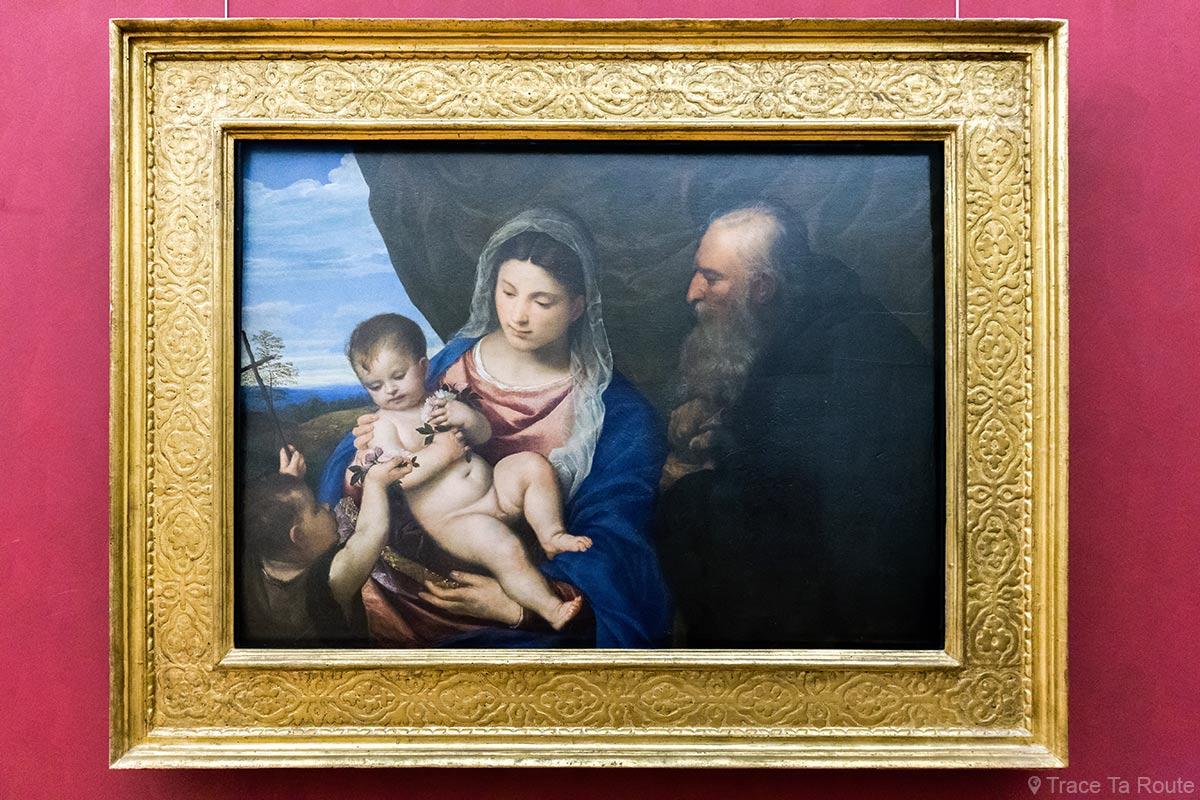 Virgem das Rosas (cerca de 1530) TITIEN - Museu da Galeria Uffizi em Florença Itália - Galeria Madonna Tiziano Uffizi em Florença Itália Museu de Arte Pintura