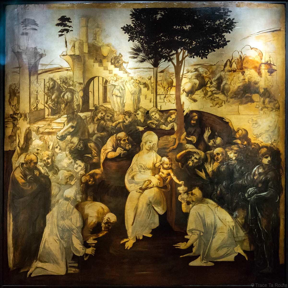 """Cardboard restaurado de """"Adoração dos Magos"""" (1481) Leonardo da Vinci - Museu da Galeria de Escritórios de Florença (Galeria Uffizi em Florença)"""