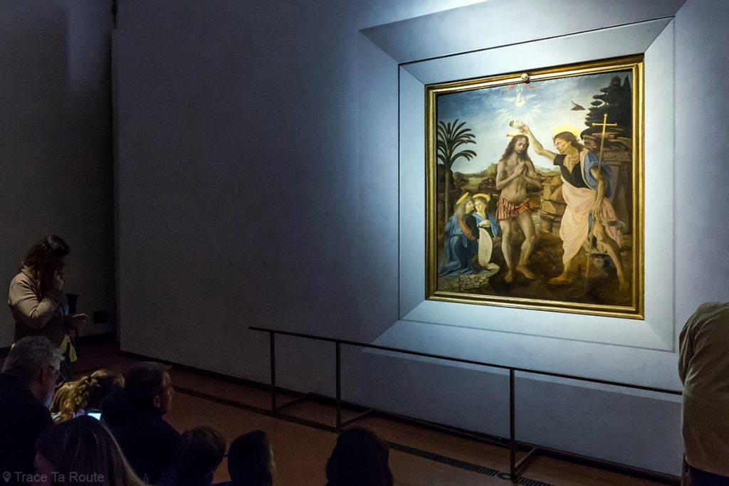 O Batismo de Cristo (1470-1476) Andrea VERROCCHIO - Museu da Galeria Uffizi em Florença (Galeria Uffizi em Florença)