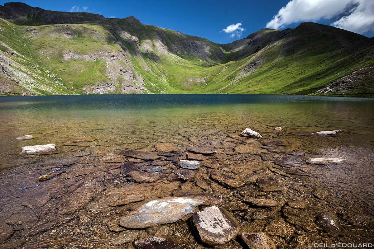 Le Grand Laus, Lacs du Malrif (lago de montanha) - Tour du Queyras GR 58, Hautes-Alpes
