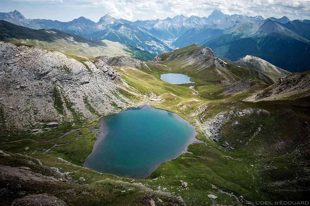 Os lagos Malrif: Petit Laus e Lac Mézan (lago de montanha) - Tour du Queyras GR 58, Hautes-Alpes